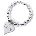 Sterling Silver Ball Bead Toe Ring with Love Heart Charm