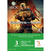 Xbox LIVE Gold 3 Months Membership + 1 Month Card Gears of War Judgment Branded