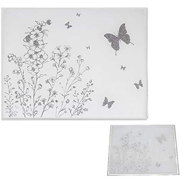 Mirror White Glass Butterfly Set Of 2 Placemats By Lesser & Pavey