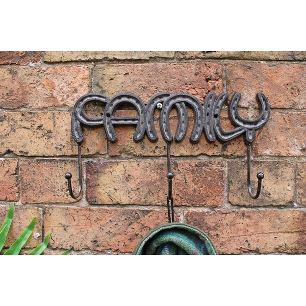 Rustic Cast Iron Wall Hooks, Family