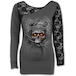 Roots of Hell Women's Small Long Sleeved Lace One Shoulder Top - Grey - Image 2
