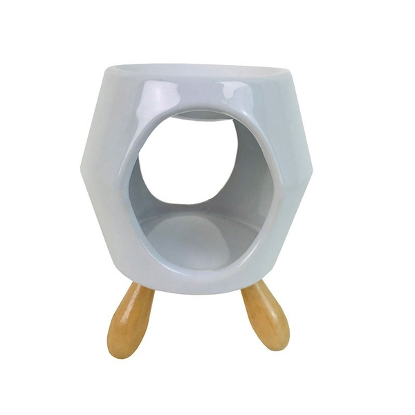 Abstract White Ceramic Oil Burner with Feet