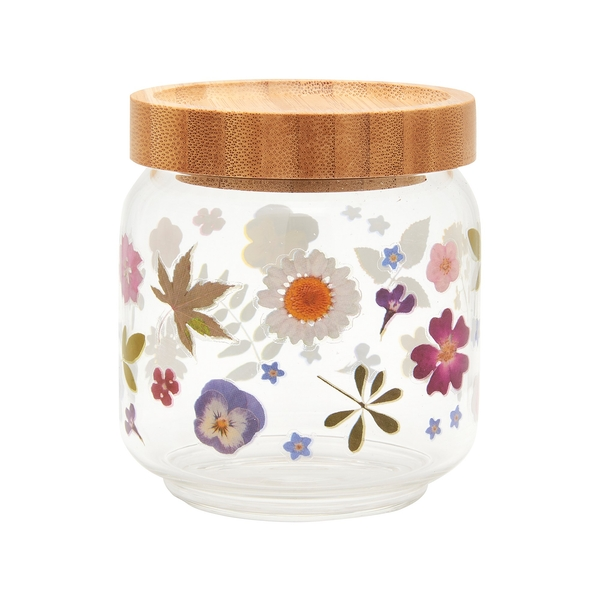 Sass & Belle Small Pressed Flowers Glass Storage Jar