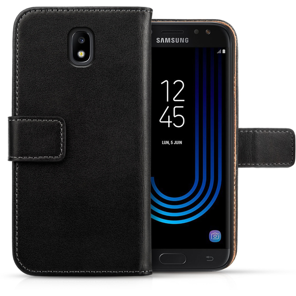 Samsung Galaxy J5 (2017) Real Leather Wallet Case - Black