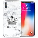 CASEFLEX APPLE IPHONE X WHITE MARBLE CROWN PERSONALISED CASE / COVER (3D)