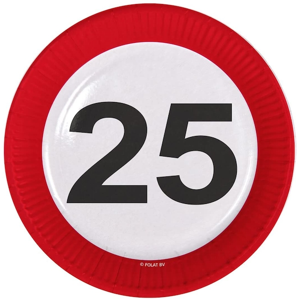 25th Birthday Traffic Sign Paper Plates (Pack Of 8)