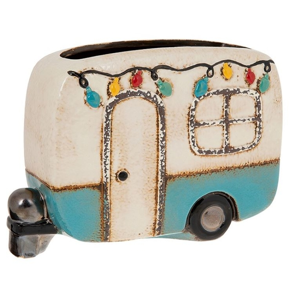 Village Pottery Festival Caravan Pot Blue