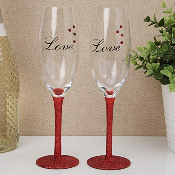Set of 2 Champagne Flutes with Red Diamante Hearts - LOVE