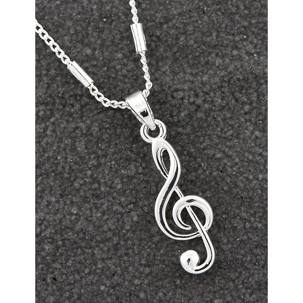 Music Collection Silver Plated Contemporary Clef Necklace