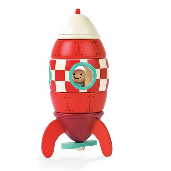 Janod Wooden Magnetic Rocket to build 5 pieces