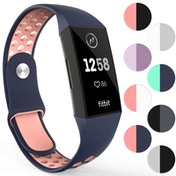 YouSave FitBit Charge 3 Silicone Sports Straps - Large - Blue & Pink