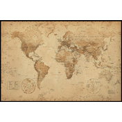 World Map Antique Style Maxi Poster