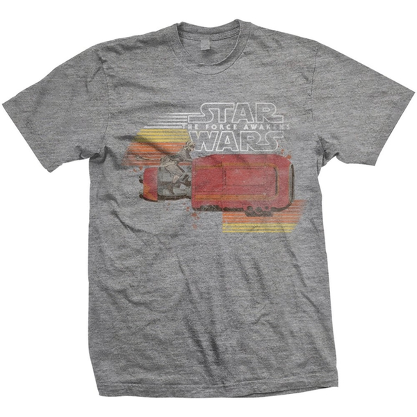 Star Wars - Episode VII Rey Speeder Retro Unisex X-Large T-Shirt - Grey