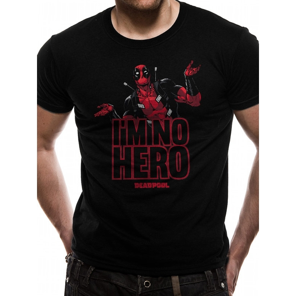 Deadpool - Im No Hero Men's Large T-Shirt - Black