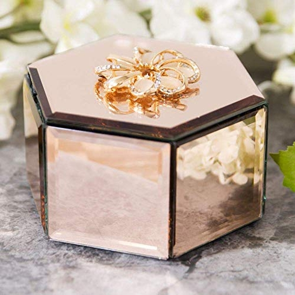 Sophia Hexagonal Champagne Mirror Glass Trinket Box