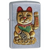 Zippo Maneki-Neko (Lucky Cat) Street Chrome Windprrof Lighter