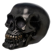 Gothic Metallic Black Skull Ornament