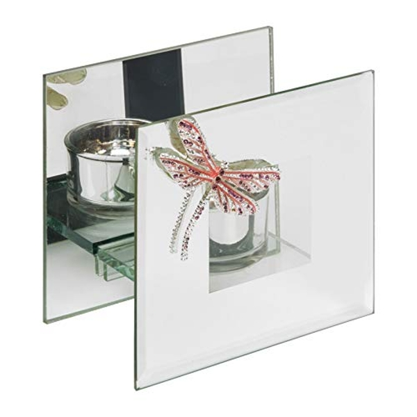 Sophia Pink Crystal Dragonfly Glass Tealight Holder