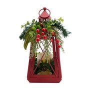 Light Up Red Metal Lantern with LED Candle