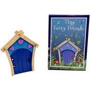 Blue Fairy Door With Purple Hearts