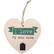 Love My Man Cave Hanging Heart Sign