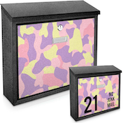 Pink Camouflage Printed Mail Box - add your  house number / name for a unique mail box!