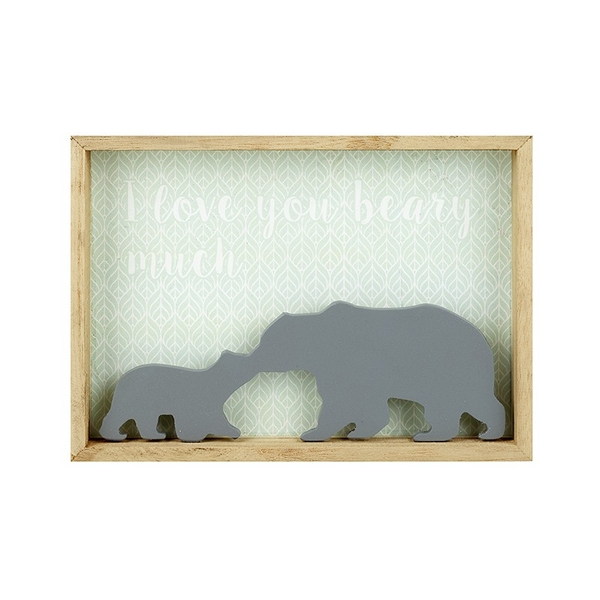 I Love You Beary Much Wooden Plaque