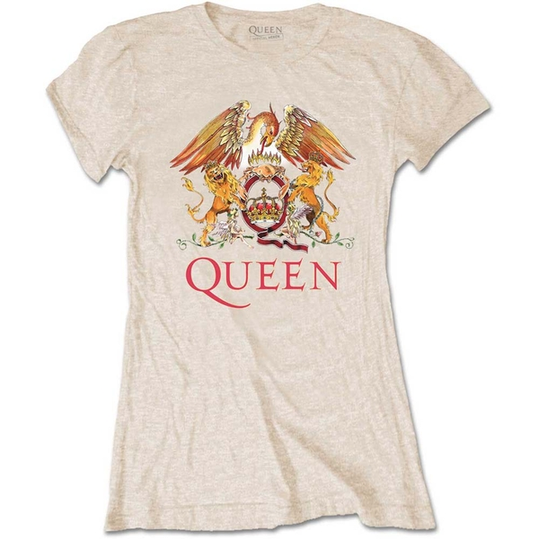 Queen - Classic Crest Women's Large T-Shirt - Sand