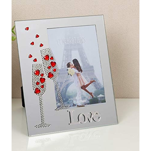 """4"""" x 6"""" - Mirror Photo Frame with Red Crystal Hearts - LOVE"""