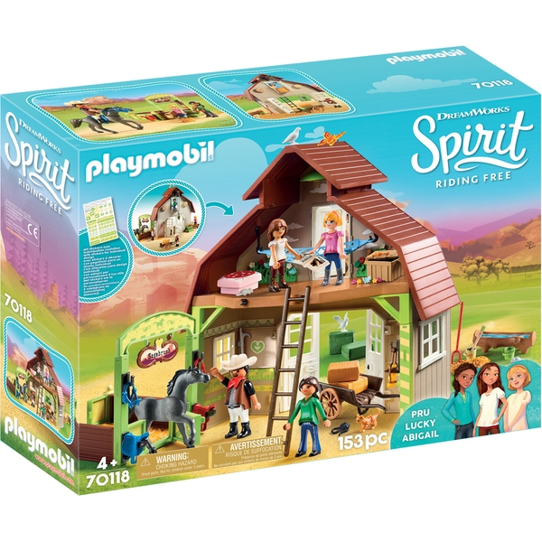 Image of Playmobil - DreamWorks Spirit Barn with Lucky Pru and Abigail Playset