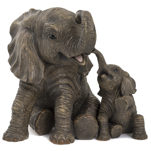Large Elephant & Calf Figurine By Lesser & Pavey