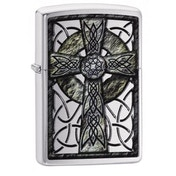 Zippo Celtic Cross Design Brushed Chrome Finish Windproof Lighter
