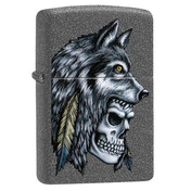 Zippo Wolf Skull Feather Design Stone Regular Windproof Lighter