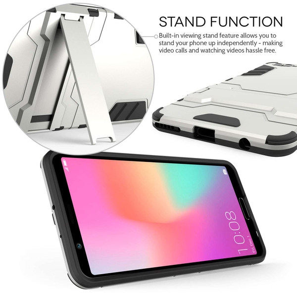 Huawei Honor View 10 Armour Combo Stand Case - Steel Silver