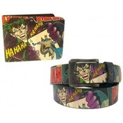 Batman Joker Vintage Print Wallet and Belt Gift Set