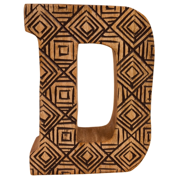 Letter D Hand Carved Wooden Geometric