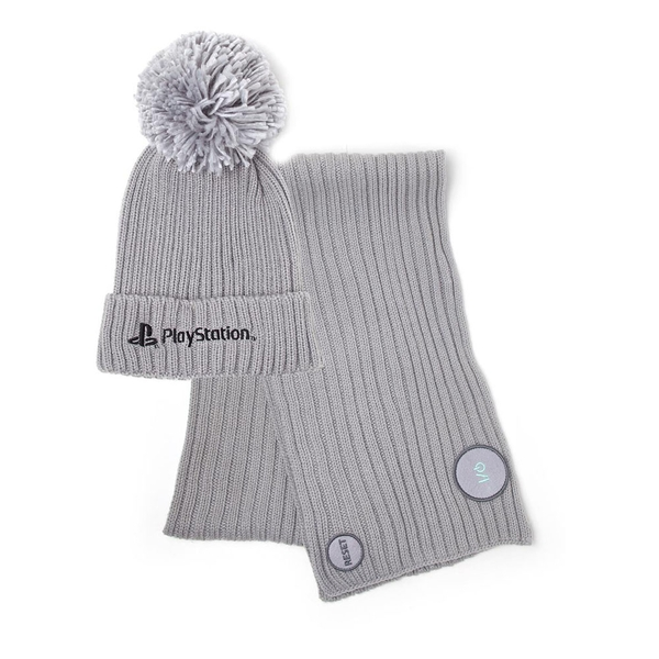 Sony - Playstation Logo Unisex Bobble Beanie & Ribbed Scarf Giftset - Grey