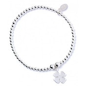 Four Leaf Clover Charm Sterling Silver Ball Bead Bracelet