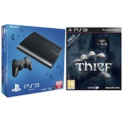 500GB Super Slim Black PS3 Console with Thief Game