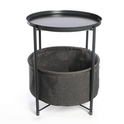 Circular End Table with Fabric Storage Basket | M&W Dark Grey