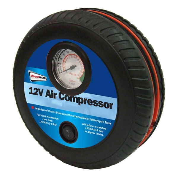 Streetwize Tyre Shape Air Compressor Black