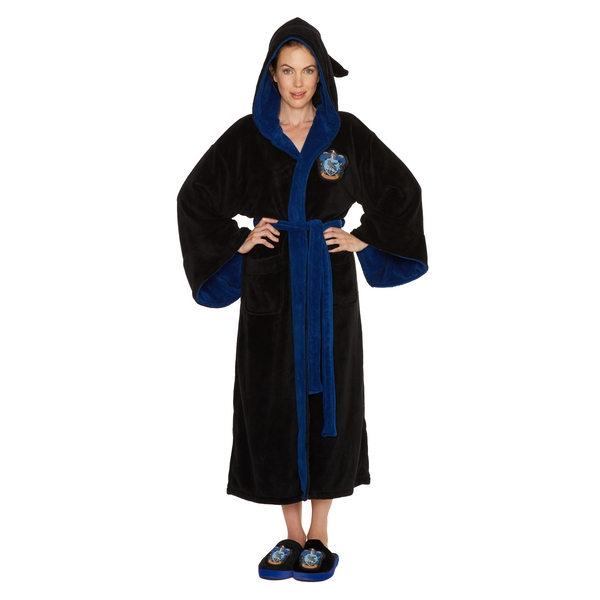 Ravenclaw Harry Potter Ladies Black Fleece Robe with Hood