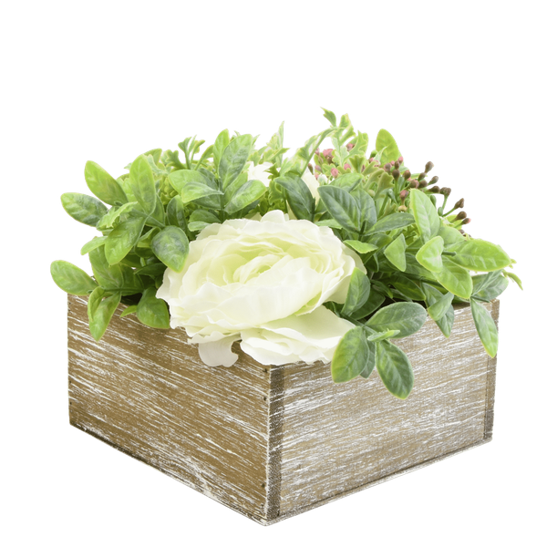Faux Roses and Herbs in Rustic Wooden Box