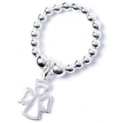 Sterling Silver Ball Bead Toe Ring with Angel Charm