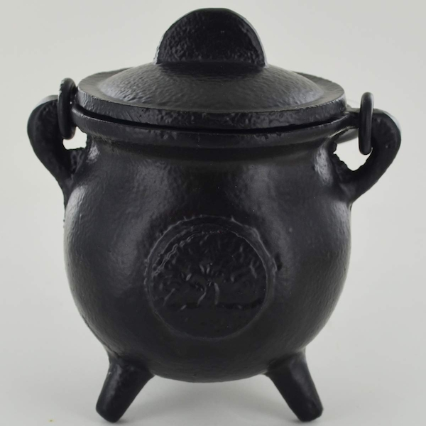 Tree Of Life Cast Iron Witch Cauldron (Small)