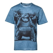 Pokemon - Blastoise Oil Washed Men's Medium T-Shirt - Blue
