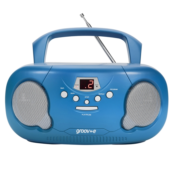 Groov-e GVPS733BE Original Boombox Portable CD Player with Radio Blue UK Plug