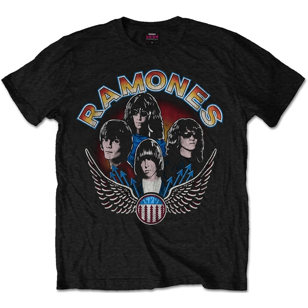 Ramones - Vintage Wings Photo Unisex Small T-Shirt - Black