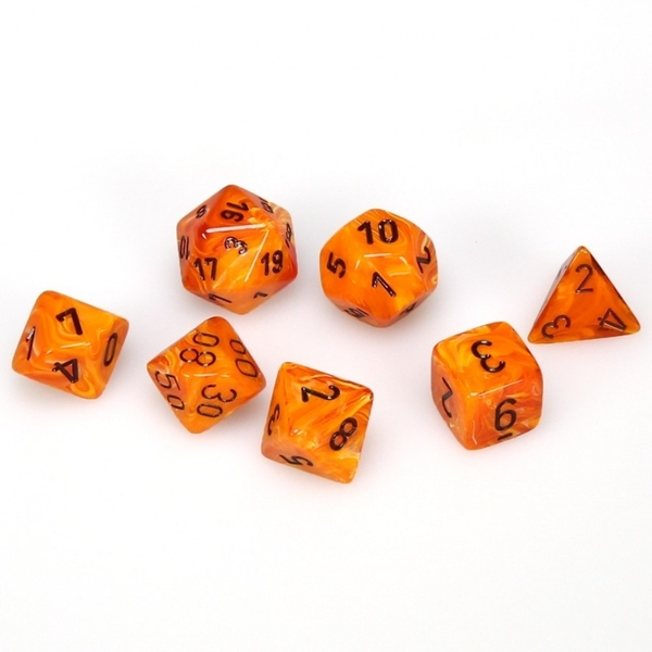 Chessex Poly 7 Set: Vortex Orange/black
