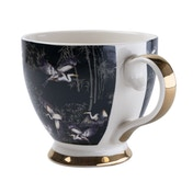 Footed Mug in Oriental Heron Design with Gold Rim in Gift Box